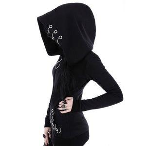 Tops - Gothic Hoops Zipper Hoodie